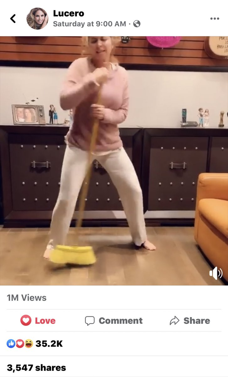 Lmfaoooooo She hit 1M views on Facebook  #LifeIsBeautiful #lucero2020 #lucero40aniversario #Lucerobroomchallenge  for a world where people enjoy to live the simply life. It might mean going around in Pjs singing with a broomstick, que nos quita <br>http://pic.twitter.com/F3ZGztVYBL