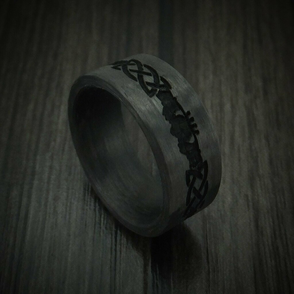 Newly listed product - Carbon Fiber Celtic Claddagh Pattern Ring - Pricing and other details are at  #weddingrings #mensrings