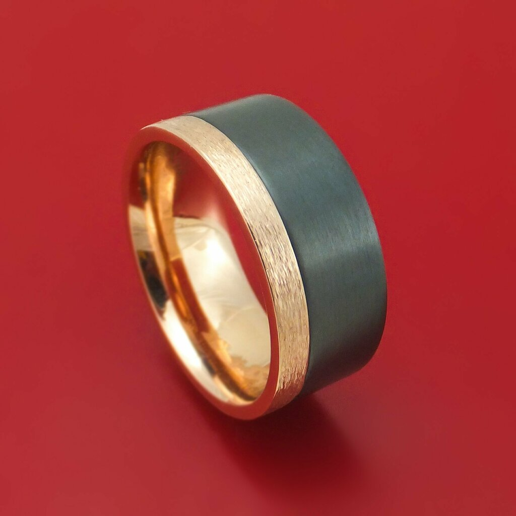 Newly listed product - 14K Gold and Black Zirconium Ring Custom Made Band - Pricing and other details are at  #weddingrings #mensrings