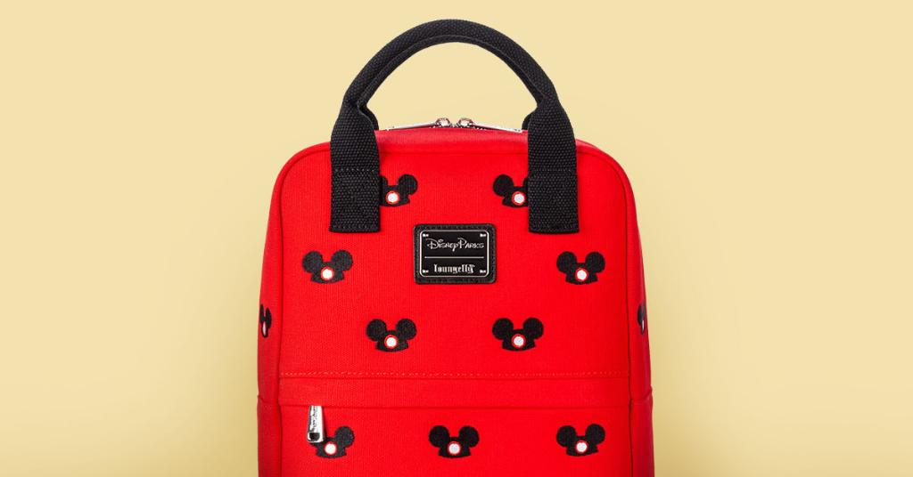 Red Loungefly canvas backpack with embroidered Mickey Ear Hat print.