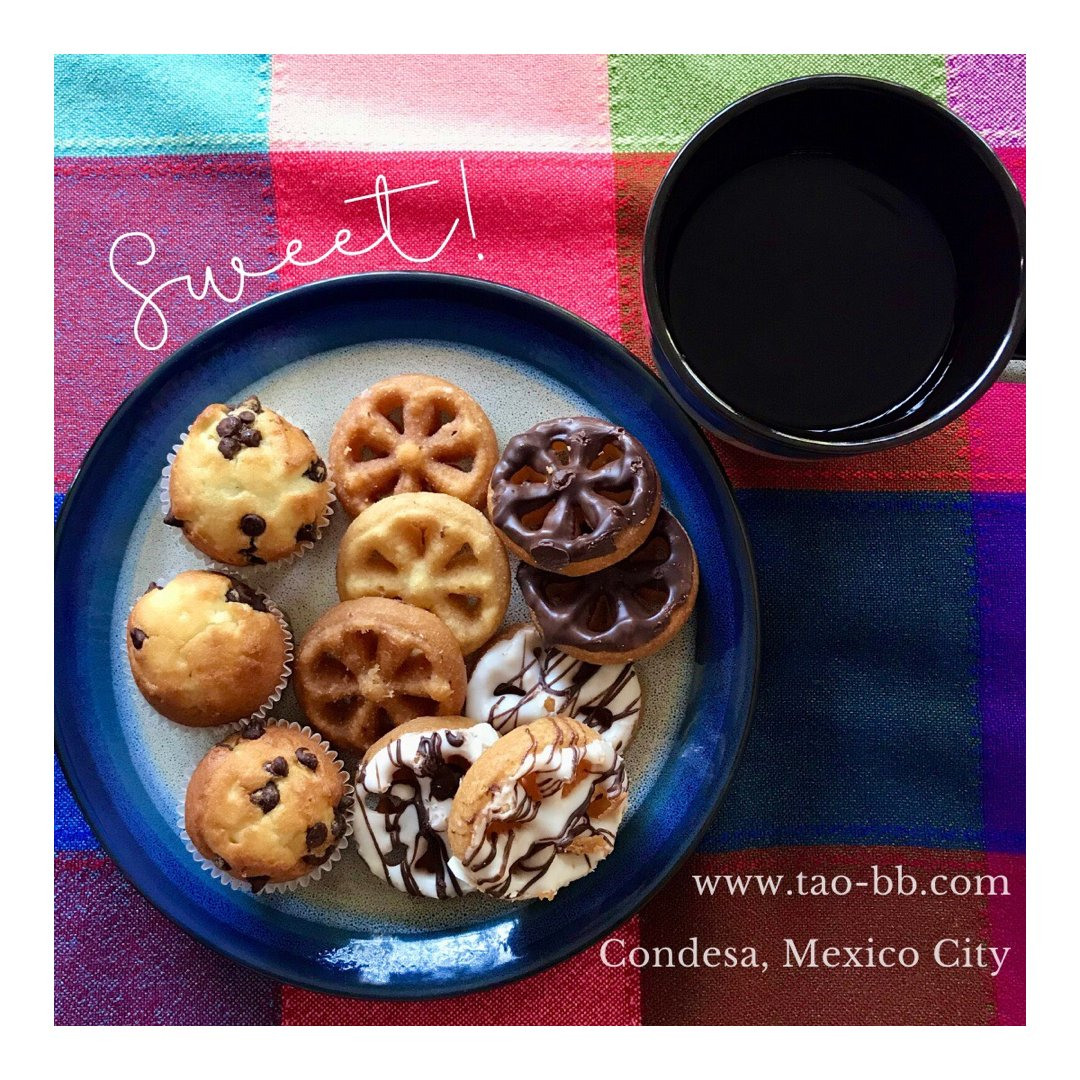 """Some sweetness for your day ☕️ We'll be back tomorrow with some buñuelos at your """"home away drone home""""  . . . #tao #bedandbreakfast #condesa #mexico #mexicocity #coffee #breakfasttime #sweet #buñuelos #chocolate #chocolatechip"""