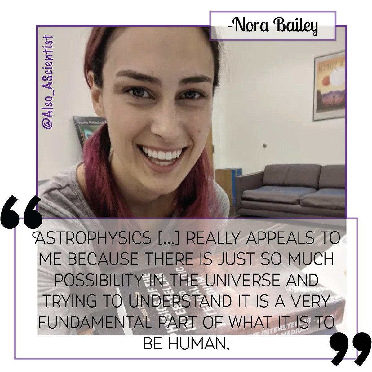 Meet @NoraSci! Shes a PhD student @UChicagoPSD studying how planets move around other stars. When not unraveling the mysteries of the Universe shes probably baking, training for her next half-marathon, or hanging out with her bunnies! #WomenInSTEM ✨ow.ly/m12B50ytjJI✨