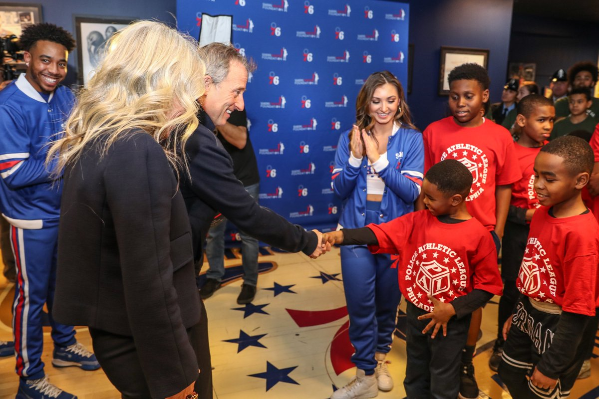 The @sixers hosted the 34th Annual @PhillyPAL night to celebrate the investment made in the organization by HBSE Managing Partners Josh and Marjorie Harris.  As part of the evening, Josh and Marjorie welcomed more than 150 youth and leadership members from PAL.