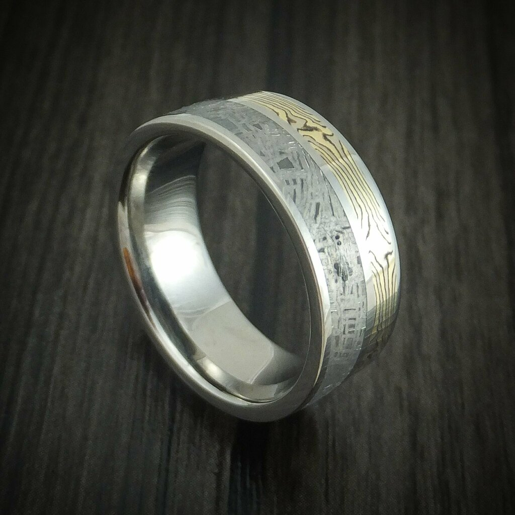 Newly listed product - Titanium Ring with Mokume and Meteorite Custom Made - Pricing and other details are at  #weddingrings #mensrings