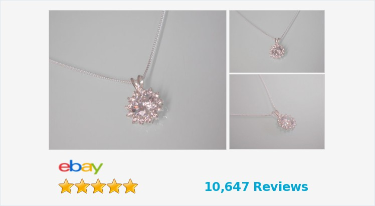 "Brand New 925 Sterling Silver & Clear cubic zirconia Pendant on an 18"" chain 