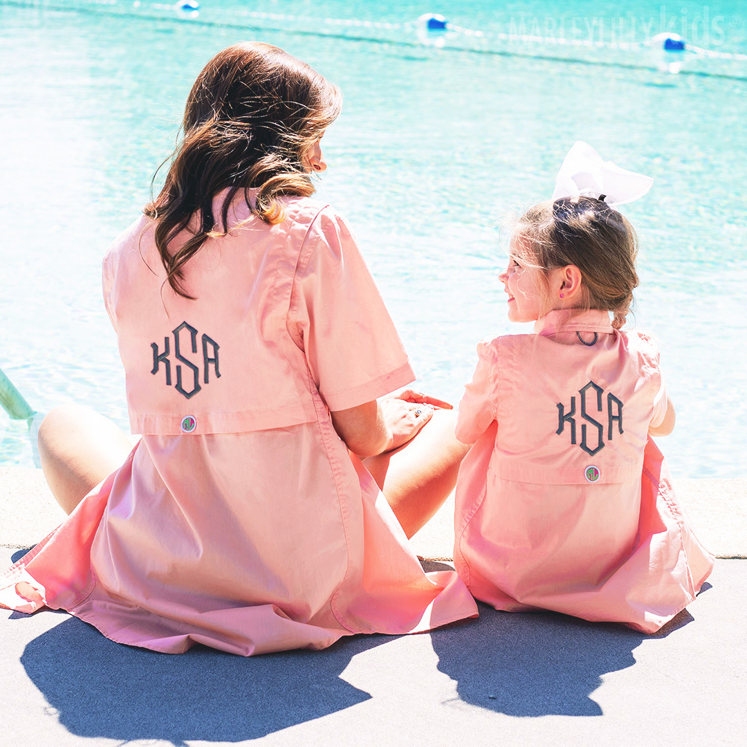 SO #CUTE! 👯‍♀️💕 Treat yourself and your mini-me to these Monogrammed Fishing Shirts! Up to $20 OFF today →
