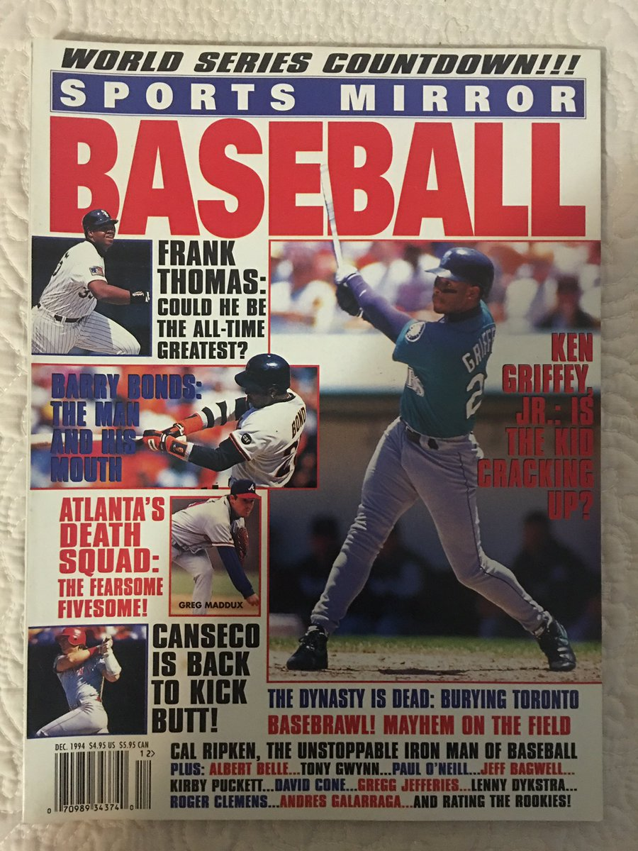 In #2020NewYear I will be posting my Ken #Griffey, Jr. periodical collection in chronological order. This could take awhile. All pictures are from my personal collection. #Mariners #Reds #WhiteSox #Phillies #MLB   Periodical of the Day - Sports Mirror Baseball Dec. 1994 :