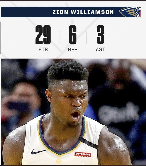 44.4% FG 8/18 | 68.4% FT 13-19|  😤🤫🤫   🔘 Zion Williamson ahora tiene 9 Juegos consecutivos anotando más de 20 puntos la 2da racha más larga para un novato desde 2013. #WontBowDown