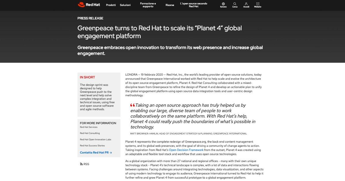 Lo sapevi che…? #Greenpeace si è rivolto a Red Hat per implementare un approccio #opensource nello sviluppo della sua piattaforma Planet 4, utilizzando strumenti di integrazione #dati open source e una metodologia di progettazione incentrata sull'utente: https://buff.ly/2w50ajlpic.twitter.com/TDnQ0Ry8Ch