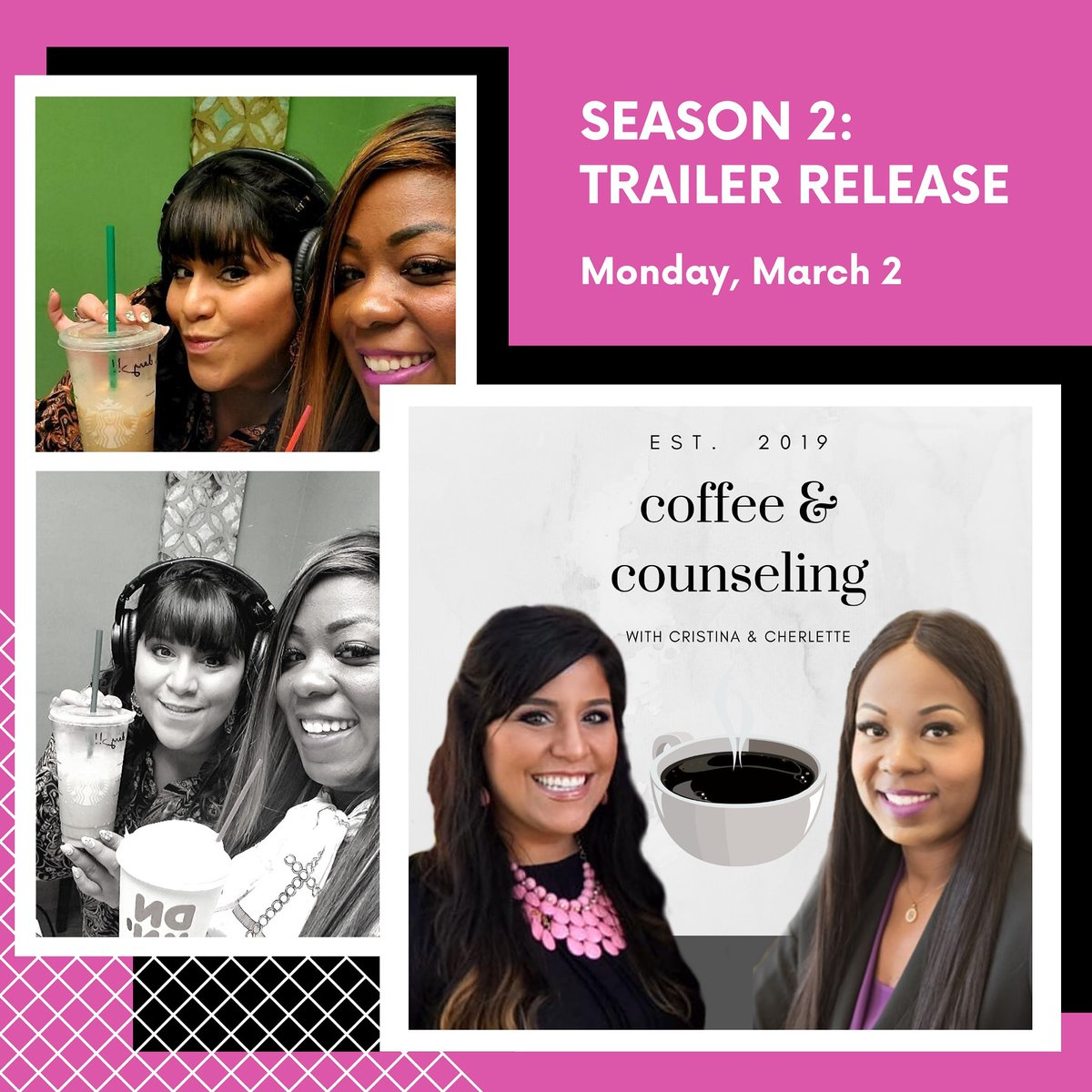 We are backkkkkkkk!!!!!!!  Are you READY for season 2?????? Well, Season 2 trailer will be available to YOU on Monday March 2 830am. Get your coffee and tune in.... pic.twitter.com/ItJTy2uxma