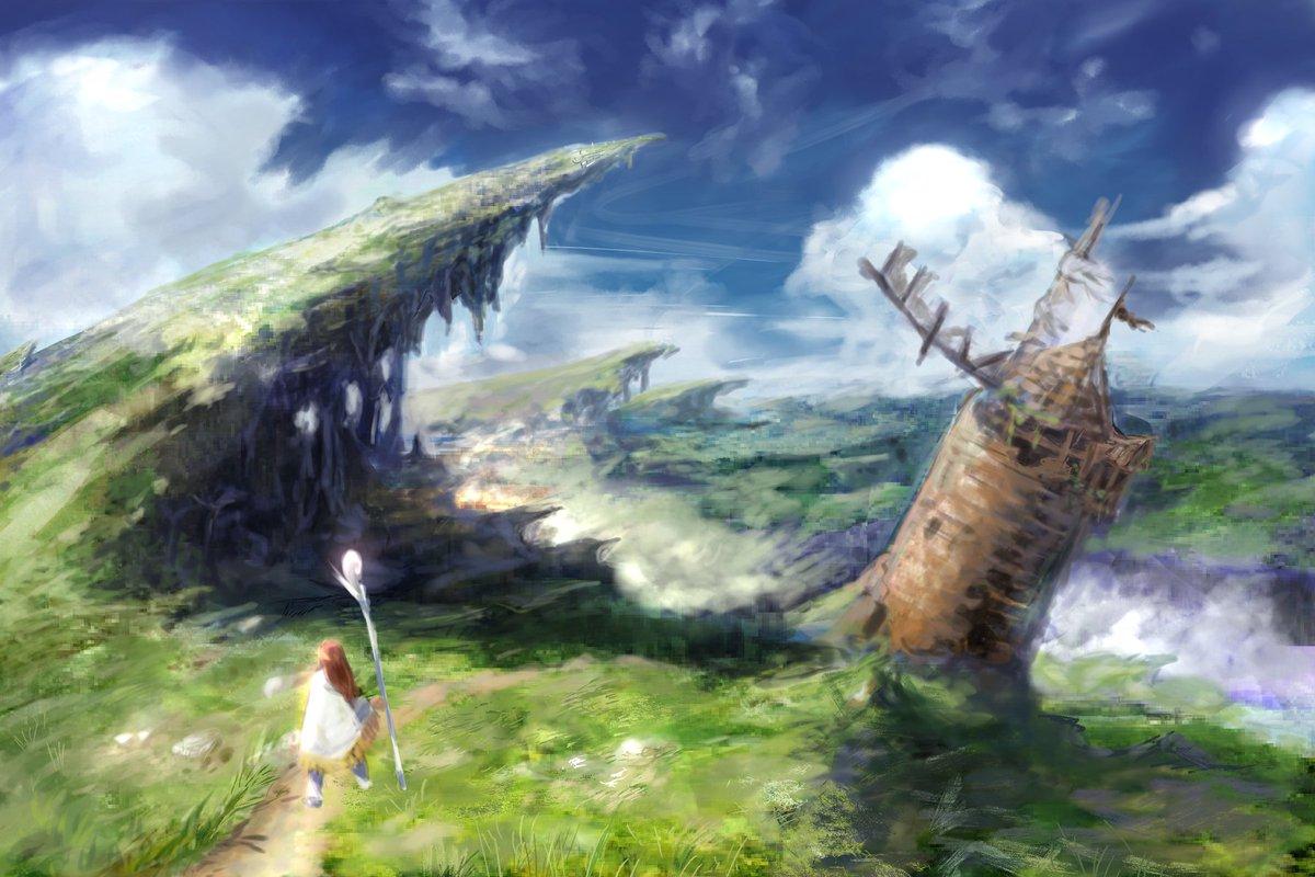 背景練習1よー清水先生の参考書「ファンタジー背景描き方教室」一章の「草原と青空」を描きました!奥行きの付け方とか、明暗の映える色の乗せ方とか発見できたり。。普段キャラを描くときにアップしがちだけど、引きながら描かないと背景は難しくて、少しずつ描き込みを増やすのが今後の課題だなあ