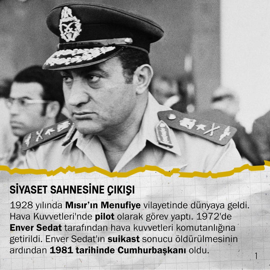 [SİYASET SAHNESİNE ÇIKIŞI]  1928 yılında Mısır'ın Menufiye vilayetinde dünyaya geldi. 1972'de Enver Sedat tarafından Hava Kuvvetleri Komutanlığının başına getirildi. Enver Sedat'ın suikast sonucu öldürülmesinin ardından 1981 tarihinde Cumhurbaşkanı oldu pic.twitter.com/n6TxEXbIQT
