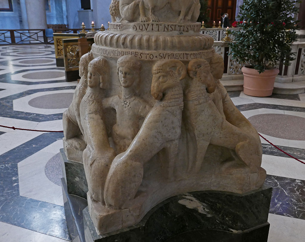 Rams, lions, and hybrids support the magnificent Easter candlestick at San Paolo fuori le mura, #Rome, signed by Nicolò d'Angelo and Pietro Vassalletto, c. 1190 #AnimalsOnFurniture #AnimalsInChurchesHour #MedievalArt