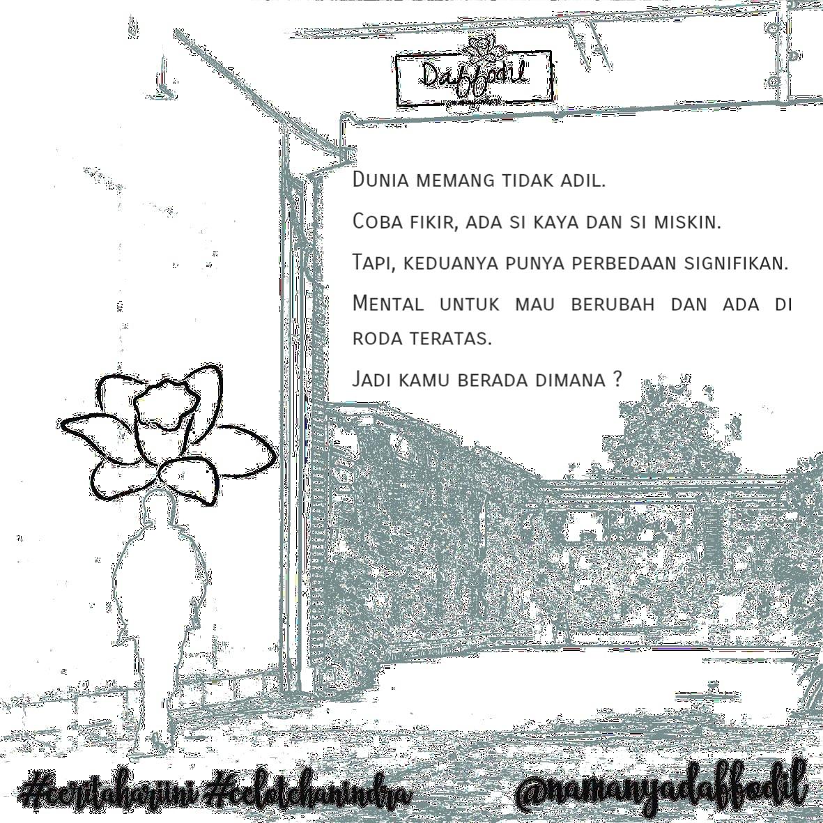 #ceritahariini #celotehanindra #bukankutipansenja #namanyadaffodil #puisi #puisicinta #puisirindu #puisihati #sajak #sajakcinta #sajakrindu #sajakpuisi #sajakhati #cerita #ceritaku #ceritahati #kumpulanpuisi #kumpulan_puisi #kumpulansajak #budaksajak #katakata #katakatacaptionpic.twitter.com/QT2quiIzrk