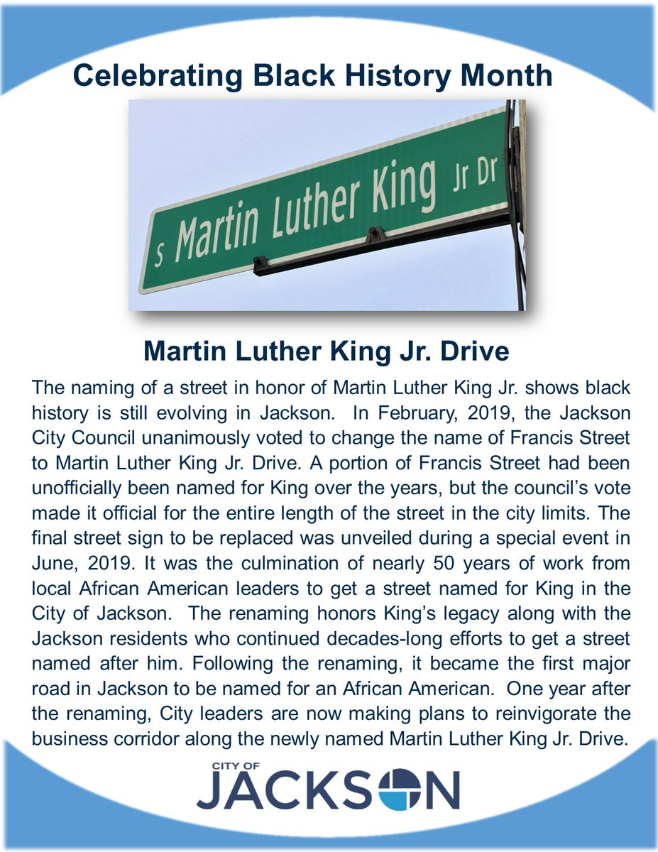 Naming a street for #MartinLutherKingJr  shows black history is still evolving in #Jacksonmi. Learn more about this decades-long effort. We're celebrating #BlackHistoryMonth  by posting about locations important to the African American experience in Jackson throughout February!<br>http://pic.twitter.com/Ph3n7G7zoj