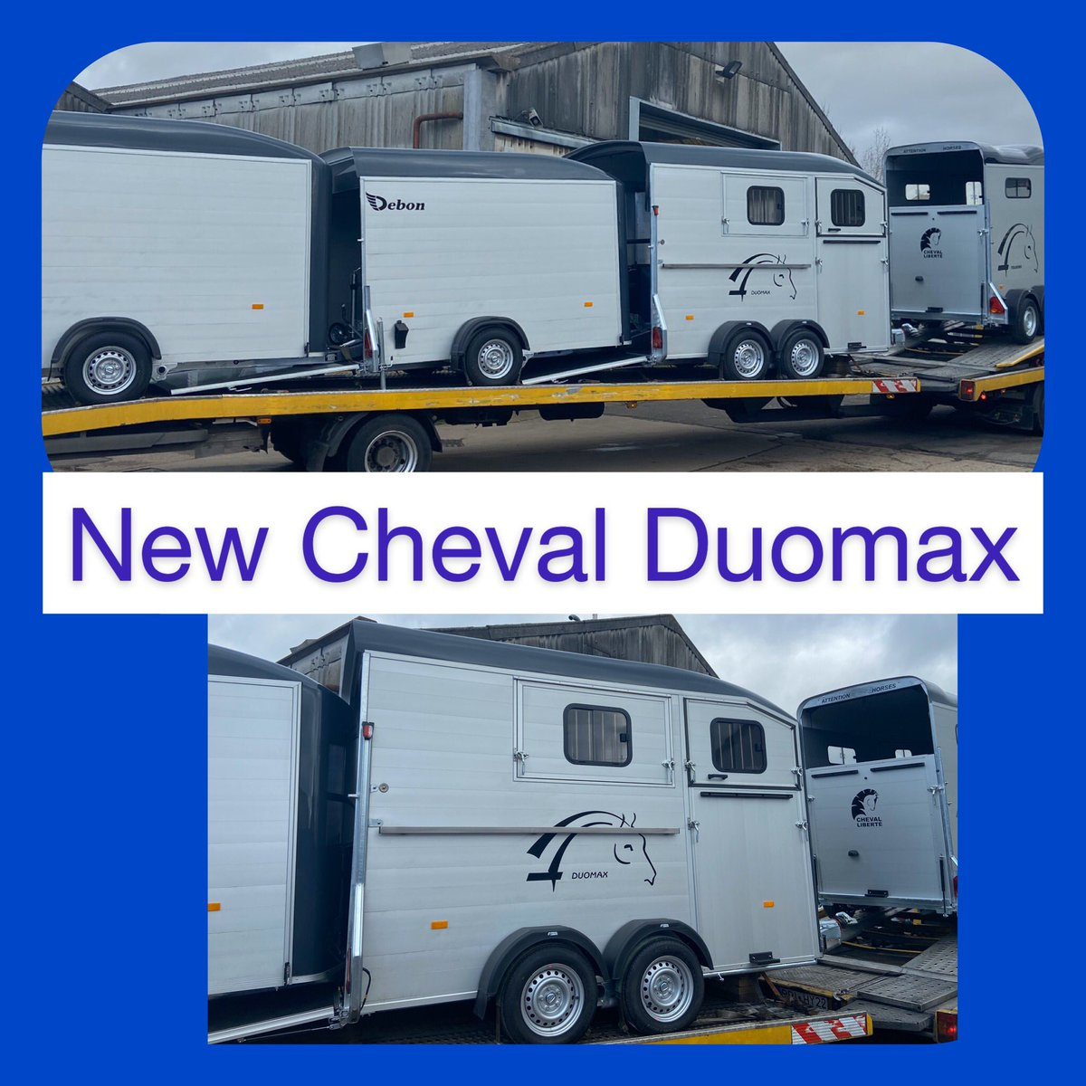 Brand New Cheval Duomax (Double Herringbone) has arrived today!One of the first models in the UK!  t: 07500 810523 to view  #chevalliberte #horsetrailer #herringbone #besthorsetrailer #equestrian #equestrianlife #horseshow #ponyclub #dressage #horseriding #showjumping #eventingpic.twitter.com/S5a08OTCBF