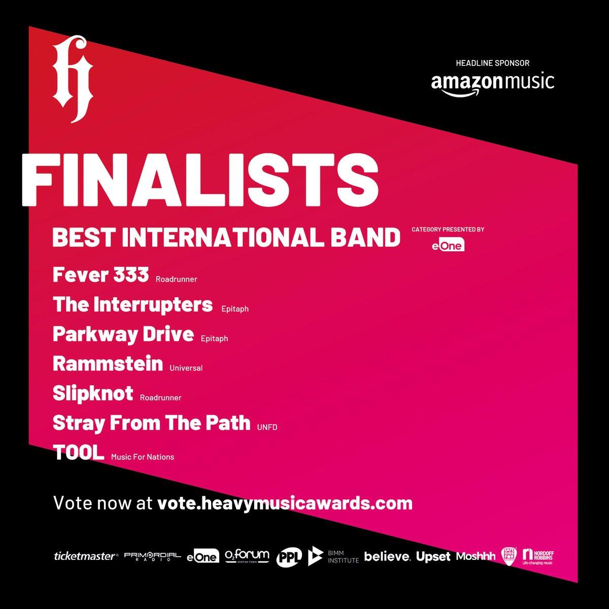 Heavy Music Awards 2020 Finalists Best International Band - Presented by eOne  >>> https://t.co/bm4DfMj6yQ  #HMA20 #Fever333 #TheInterrupters #ParkwayDrive #Rammstein #Slipknot #StrayFromThePath #Tool https://t.co/s3doFcBQ2I