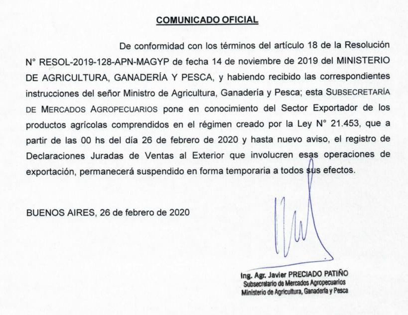 """Ante inminente suba en retenciones, cierran registro de exportaciones """"hasta nuevo aviso"""""""