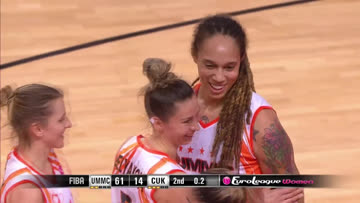 .@AllieQuigley with the touchdown pass ➡ @BrittneyGriner  with the flex 💪 !  @BasketballUMMC | #EuroLeagueWomen  📺 http://go.fiba.basketball/ELW_Watch_Live