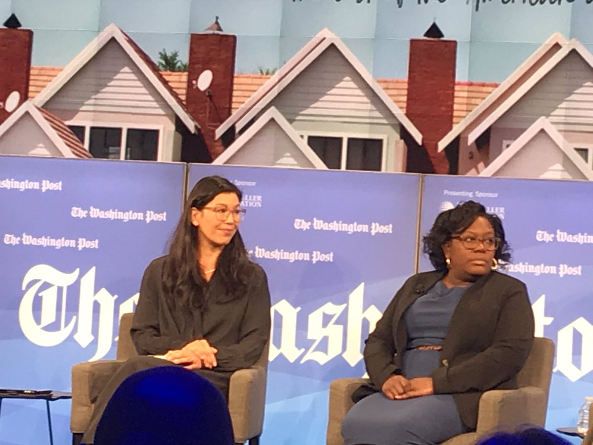 """.@aijenpoo (left) says """"Caregiving is a job that won't be outsourced. Humans do this #work."""" How can we create new pathways that build career ladders for #caregivers? #postlive @postlive #workforce"""