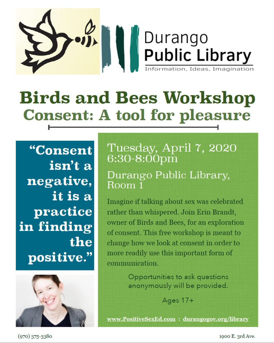 This is a workshop for everyone - adults, parents, youth 17 years & older, single folks, people in relationships, etc.  #BirdsAndBees #PositiveSexEd #SexCoach #Consent #Communication #FreeWorkshop #ShiftTheCulturepic.twitter.com/VUd6gwLiPq