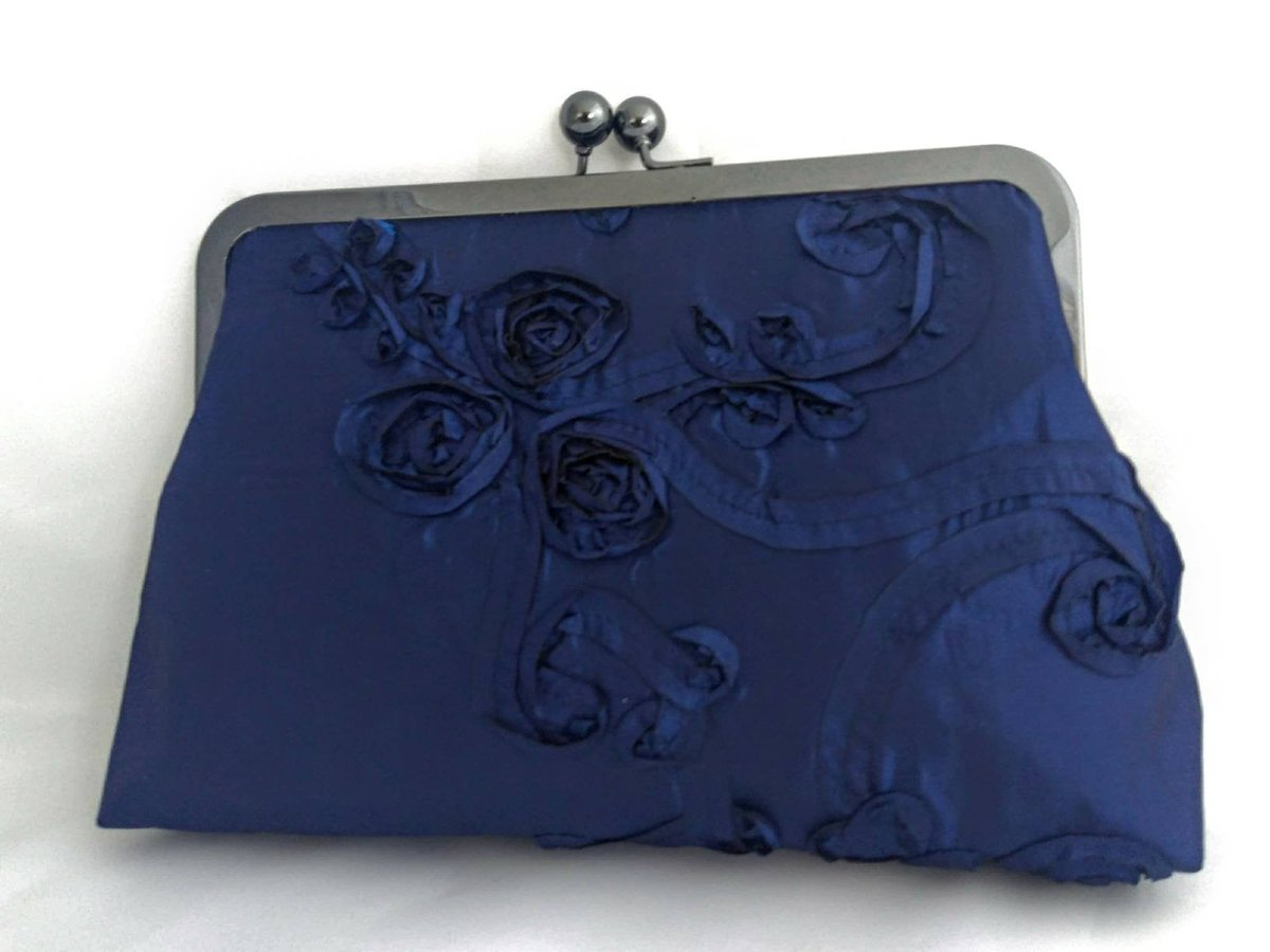 Excited to share the latest addition to my #etsy shop: Navy Blue satin purse, navy floral purse, blush Bridal purse, something blue purse, navy Bridal purse, Bridesmaids gift, navy Clutch purse  #weddings #accessories #blue #pink #wedding #christ