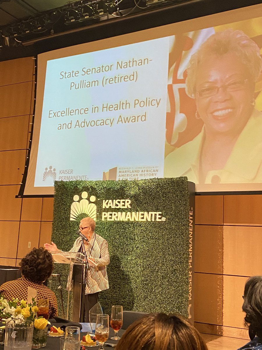 Yesterday, @KPMidAtlantic honored retired State Sen. Shirley Nathan-Pulliam for Excellence in Health Policy & Advocacy. The award celebrates her work to advance heath policy and was presented during a luncheon to honor African American Marylanders in Healthcare & Science. pic.twitter.com/iezSgnSxb7