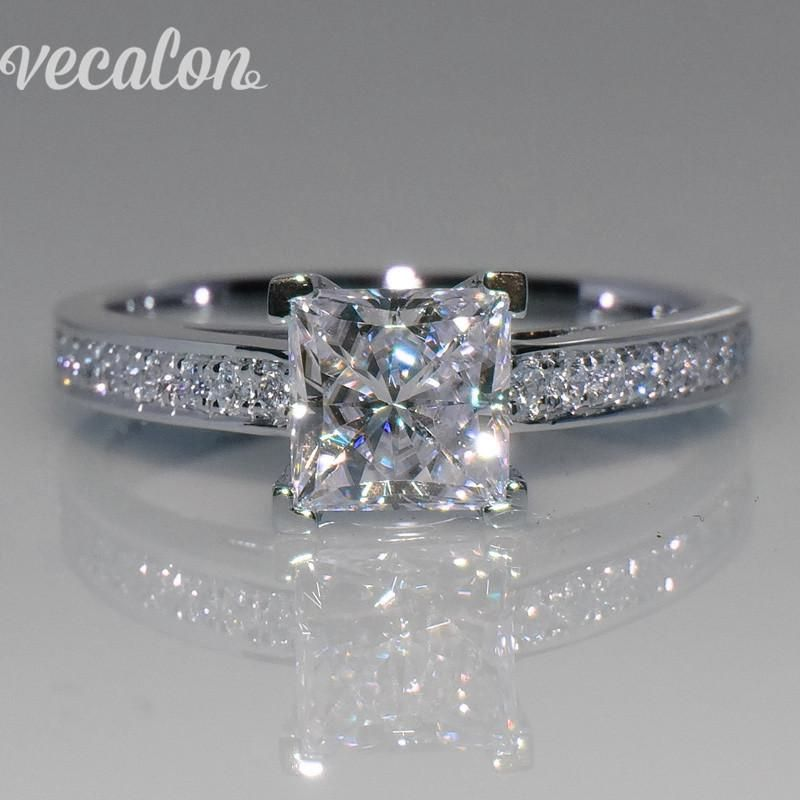 This is a great engagement ring for a couple starting out on a shoestring budget. This CZ princess cut is beautiful and set in sterling silver. I am sure your lady will love it just as much. #weddingrings #engagementring #jewelrylover #jewelry #giftsforher