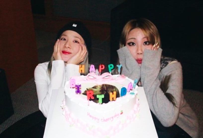 #2NE1's #SandaraPark brings #CL a custom made heart shaped cake to celebrate her 29th birthday!🍾🎂💗🎊🎉😎👑👑 @chaelinCL @krungy21