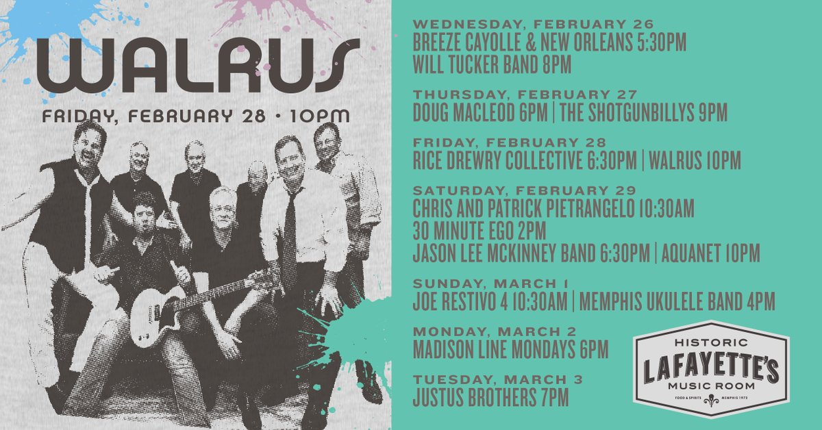 Lots of awesome music for ya this week! Come on out!