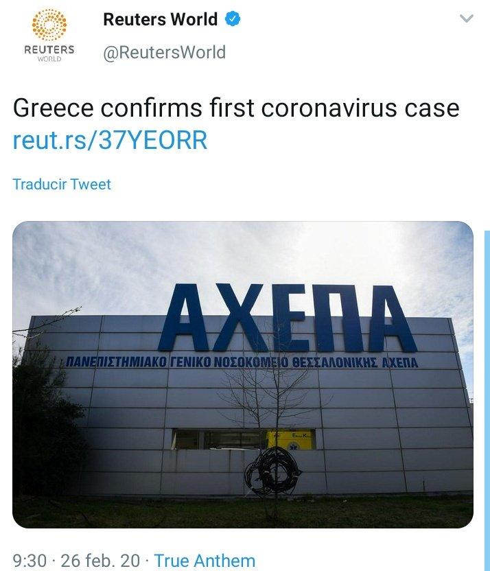 🔴 BREAKING NEWSDe #ULTIMAHORA Sevilla, Grecia y Brasil ya con un caso de #Coronavirus🇪🇦Sevilla confirma el primer caso de coronavirus en Andalucía🇬🇷Grecia también presenta su primer caso de #COVIDー19
