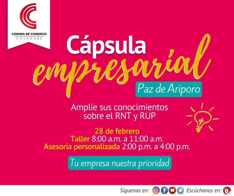 #CápsulaEmpresarial Un abogado experto en temas empresariales estará en #PazDeAriporo, el 28 de febrero de 2020, despejando dudas sobre los Registro Nacional de Turismo#RNT  y el Registro Unico de Proponentes #RUP Informes6373534 3107990097 Calle 9 No. 6 - 57 #SoyFormalpic.twitter.com/gJwt7Ay4en