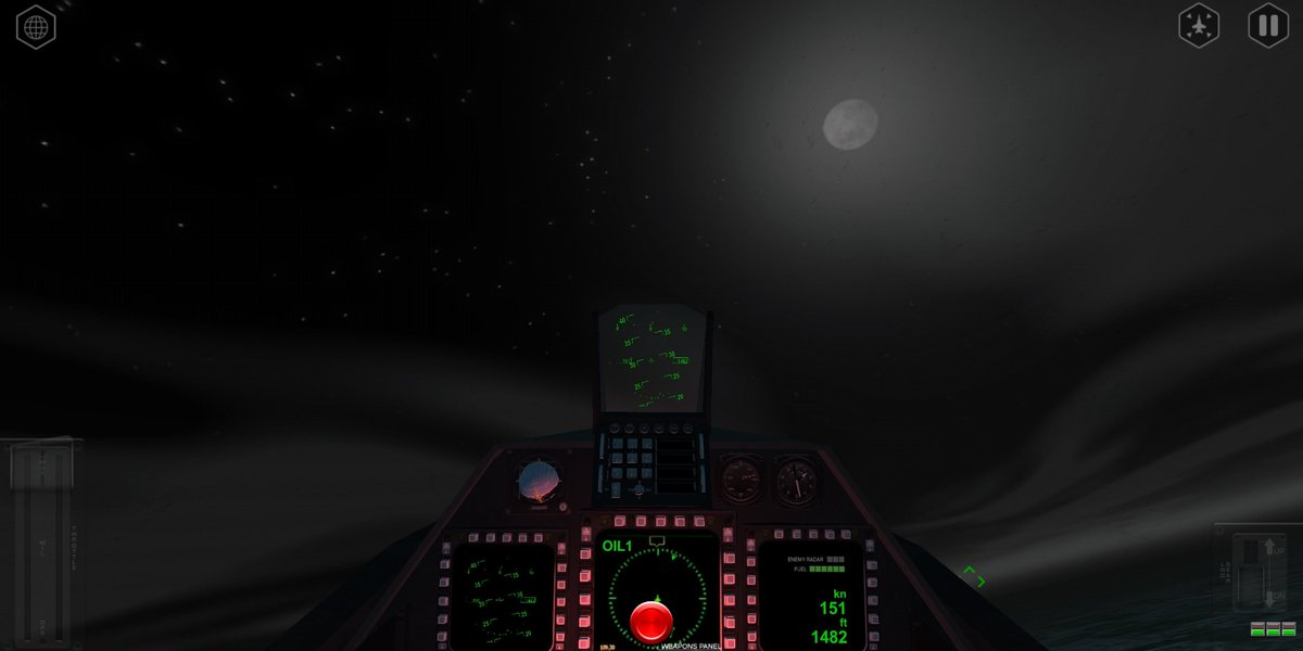 View at night from the cockpit ❤️😍😍The reason why i love this Game.  #AirFighters #F22Raptor