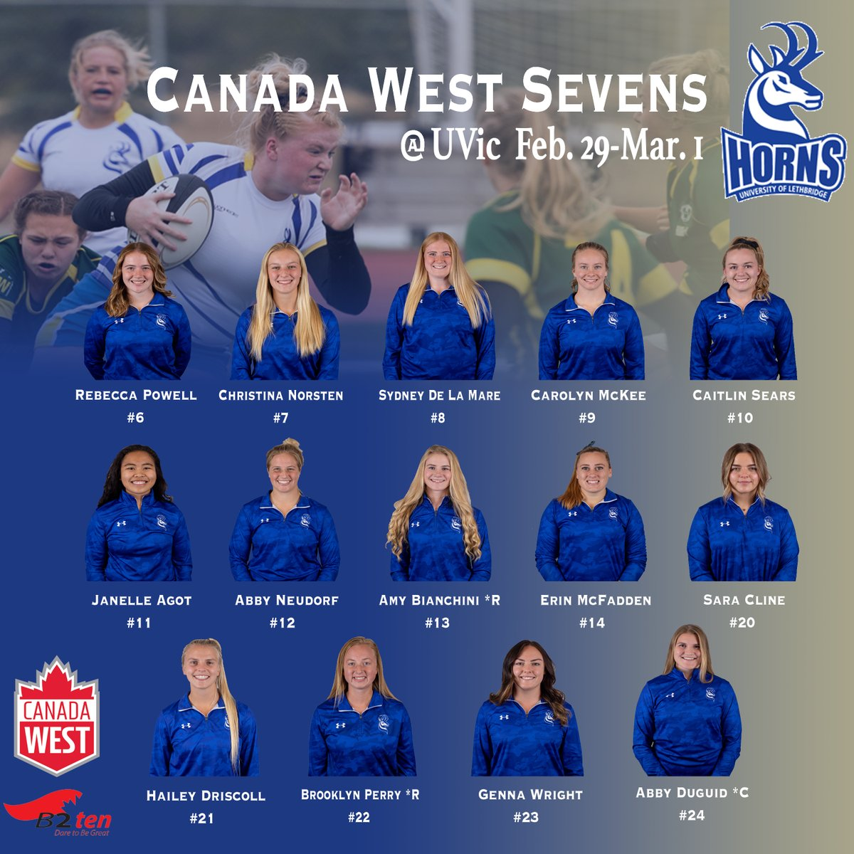 Unchanged roster for UVIC 7s this weekend. These gals will be chasing a podium finish again. Go Horns! @CanadaWest @B2ten @RugbyCanada #yql #wrugby