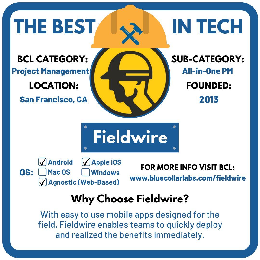TECH OF THE WEEK: Fieldwire  FIELDWIRE's key features include plan viewing, task management, issue tracking, reporting, and more — all accessible from one place @FieldwireHQ  #BCL #Fieldwire #ProjectManagement #AllinOne #ConTech