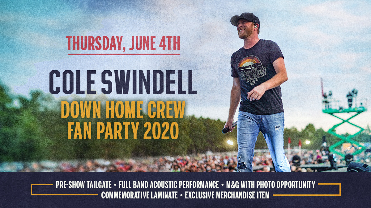 Announcement! Hang with Cole at his fan party during #CMAfest this summer! Pre-sale starts tomorrow, so join the #DownHomeCrew now to get first access to tickets   https:// wmna.sh/downhomecrew     - Team CS<br>http://pic.twitter.com/lWOGDAnHGD