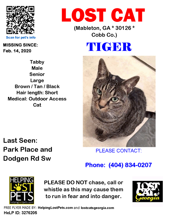 **FACEBOOK LINK:  ** #SENIOR ALERT  Lost Cat - Mableton, GA - Feb.14, 2020 Closest Intersection: Park Place and Dodgen Rd Sw County: Cobb  #LOSTCAT #Tiger #Mableton (Park Place & Dodgen Rd Sw)  #GA 30126 #Cobb Co. , #Lost #Cat 02-14-2020!, Male #Tabby Bro…
