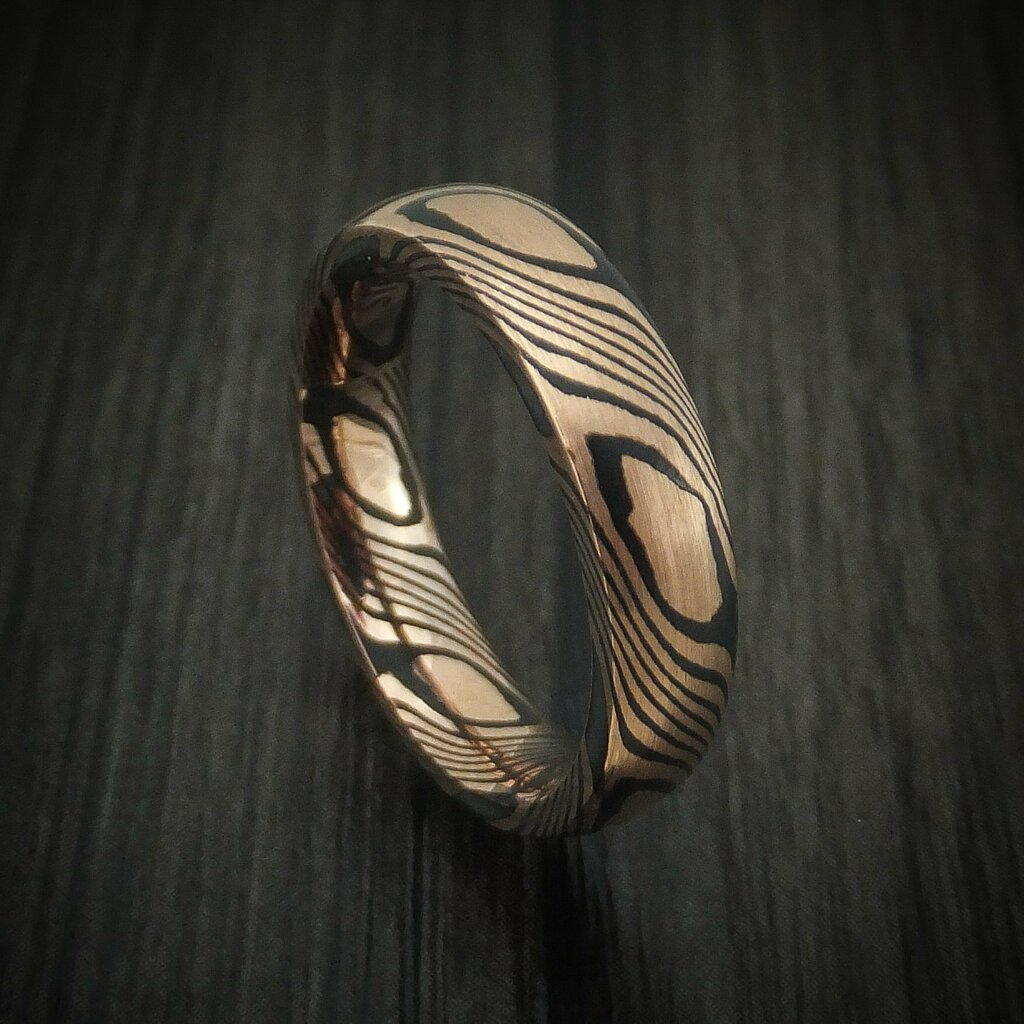 Newly listed product - Classic Mokume Domed Ring with Satin Finish Custom Made - Pricing and other details are at  #weddingrings #mensrings