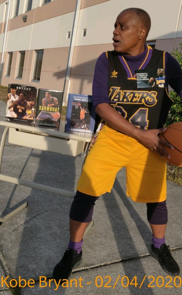 Angela Riley-Maxwel dressed as basket ball legend Kobe Bryant