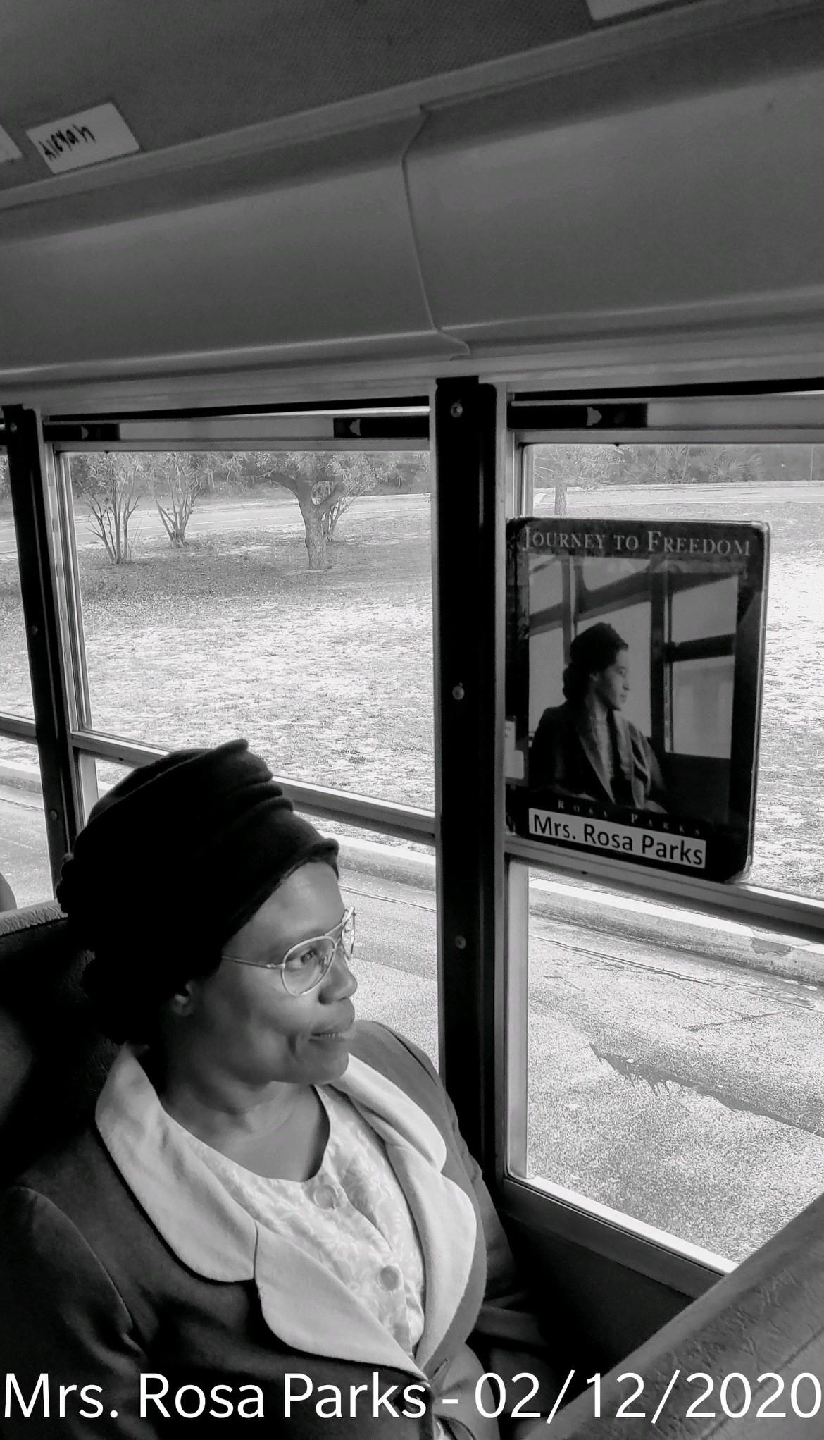 Angela Riley-Maxwel dressed as Rosa Parks