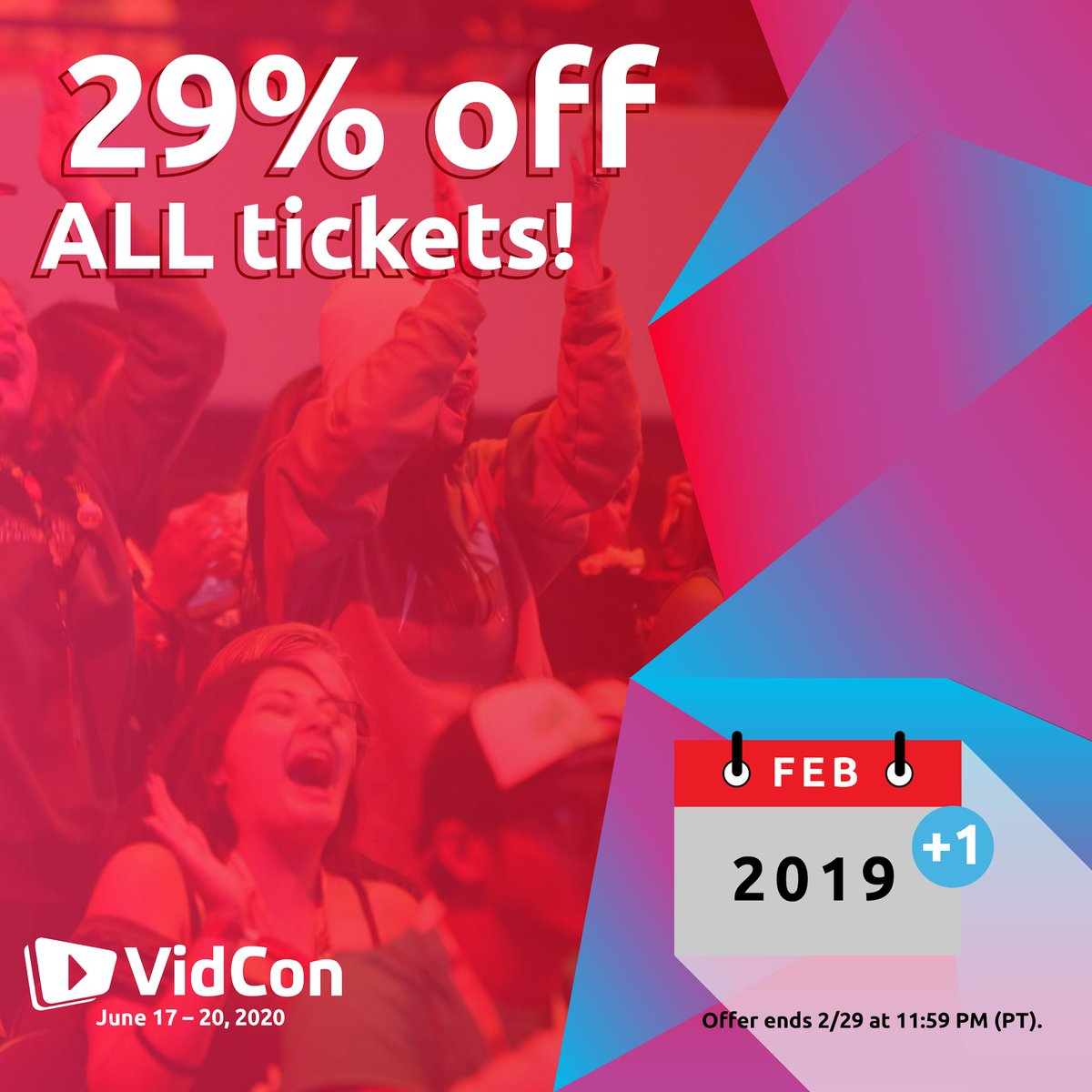 An extra day in 2020 calls for an extra big discount on #VidConUS tickets! Use code LEAPYEAR29 for our lowest prices ever!