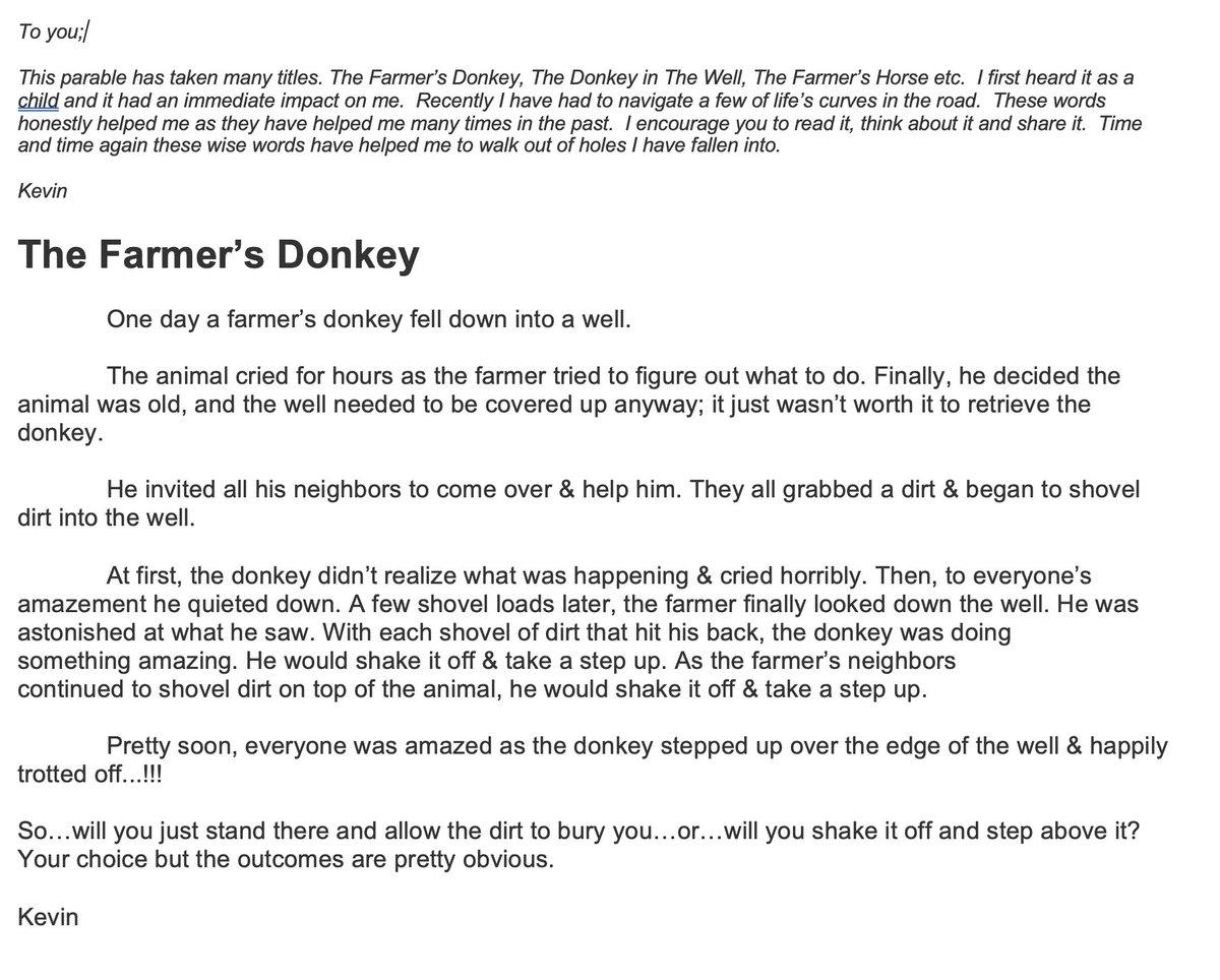 I don't know why I waited this long to share this bit of inspiration with you.  It's helped me through many low times.  If you're having a bad day/week, dealing with depression or just need some hope, I encourage you to read AND share this.  #YouAreNotAlone #FarmersDonkey<br>http://pic.twitter.com/Y2dA9rszjm