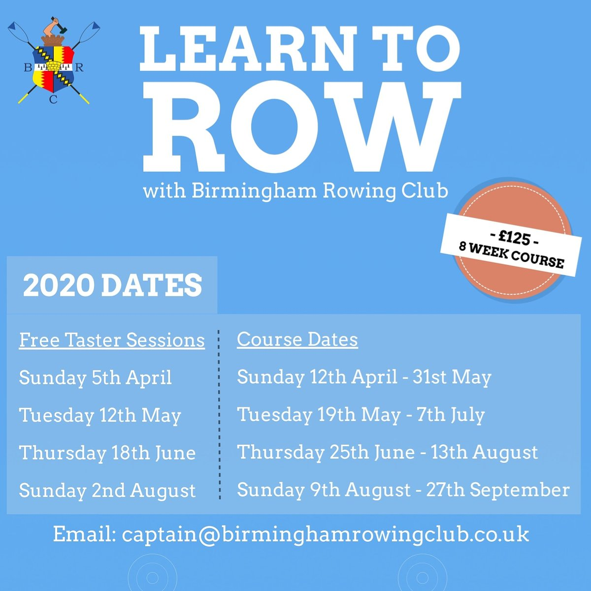 Do you want to try a new sport? Get fitter in 2020 with a great all-body workout? Try something different this year and #LearnToRow in the stunning surrounds of #EdgbastonReservoir right in the heart of #Birmingham   Email: captain@birminghamrowingclub.co.ukpic.twitter.com/A97fcpEBOq