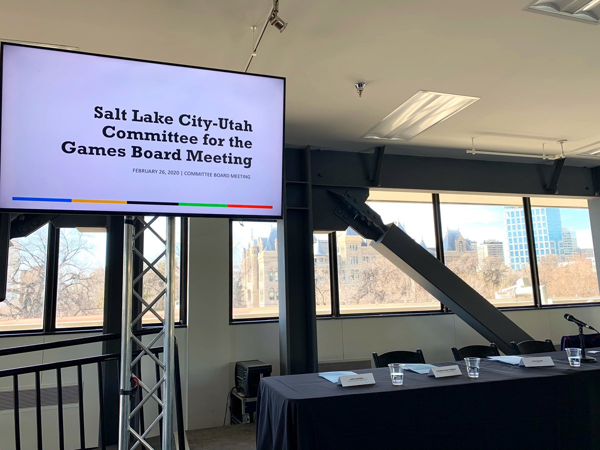 The first official Salt Lake City - Utah Commitee for the Games Board Meeting is about to begin! Follow along for updates. #Olympics #Paralympics