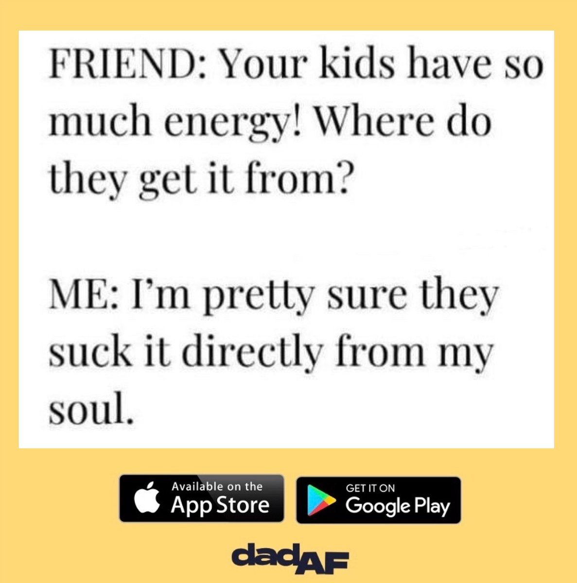 This explains why I'm always exhausted  • • • #dad #dadaf #dadlife #dads #parent #parents #parenthood #baby #toddler #kids #children #energy #noenergy #soul #tired #exhausted #knackered #sleep #dadcommunity #dadnetwork pic.twitter.com/4HOnIeV77D