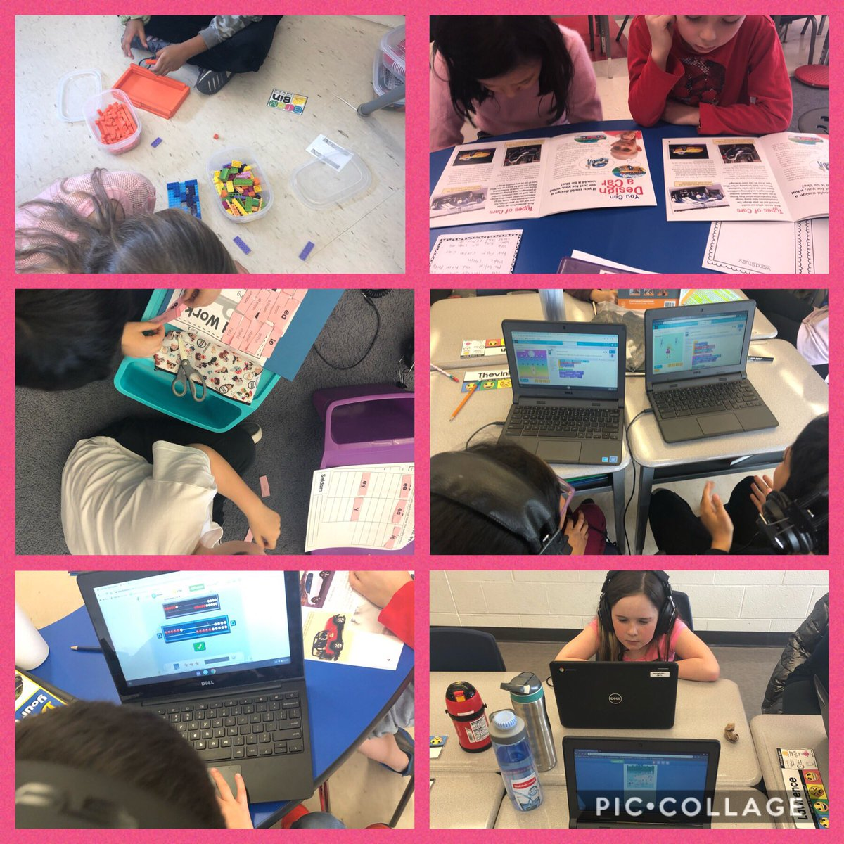 Totally engaged and on task during literacy centres today! Check out these students doing STEM Bins, Guided Reading/Meet with Teacher, Word Work, Tech Time (coding), Dreambox and Raz-kids! pic.twitter.com/mXdI7jevR6