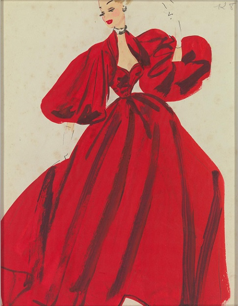 Fashion illustration (MIFA catalogue no. 31) (late 1940s-early 1950s) JACQUES HEIM, Paris (attributed to) (fashion house) Pen and ink, gouache and graphie on wove paper 28.0 × 21.0 cm National Gallery of Victoria, Melbourne Presented by Melbourne Fine Art Gallery, 2012