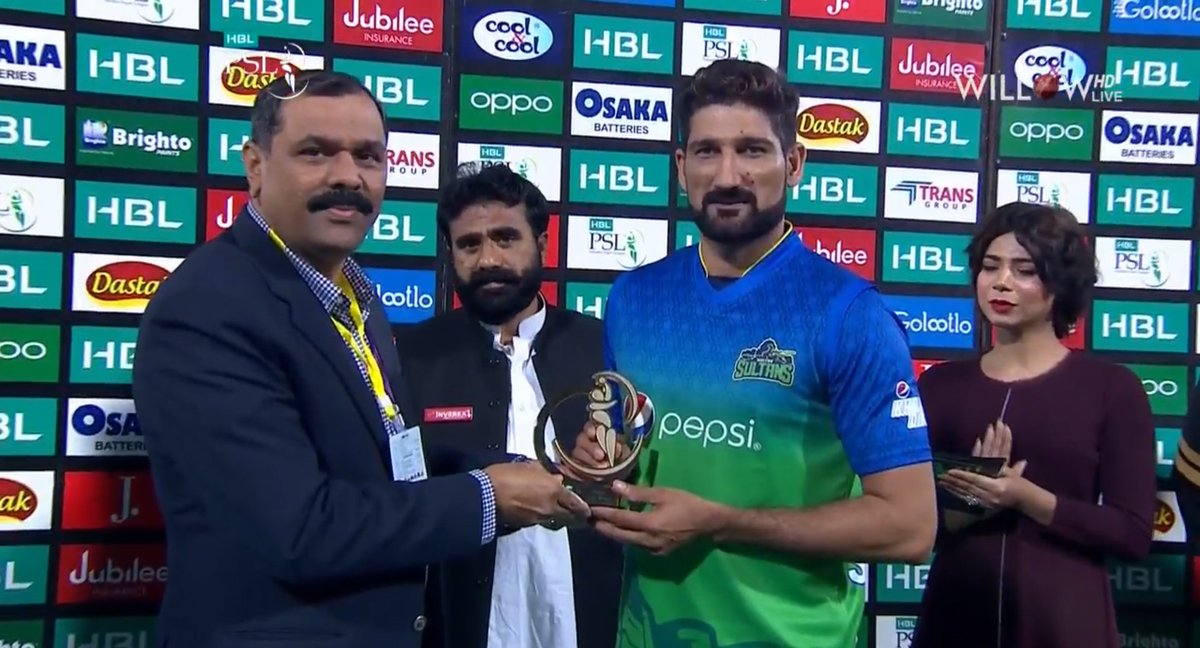 Sohail Tanvir is the Man Of The Match for his brilliant spell 4-13  #PSL2020 #MSvPZ<br>http://pic.twitter.com/4UAfQsQZah