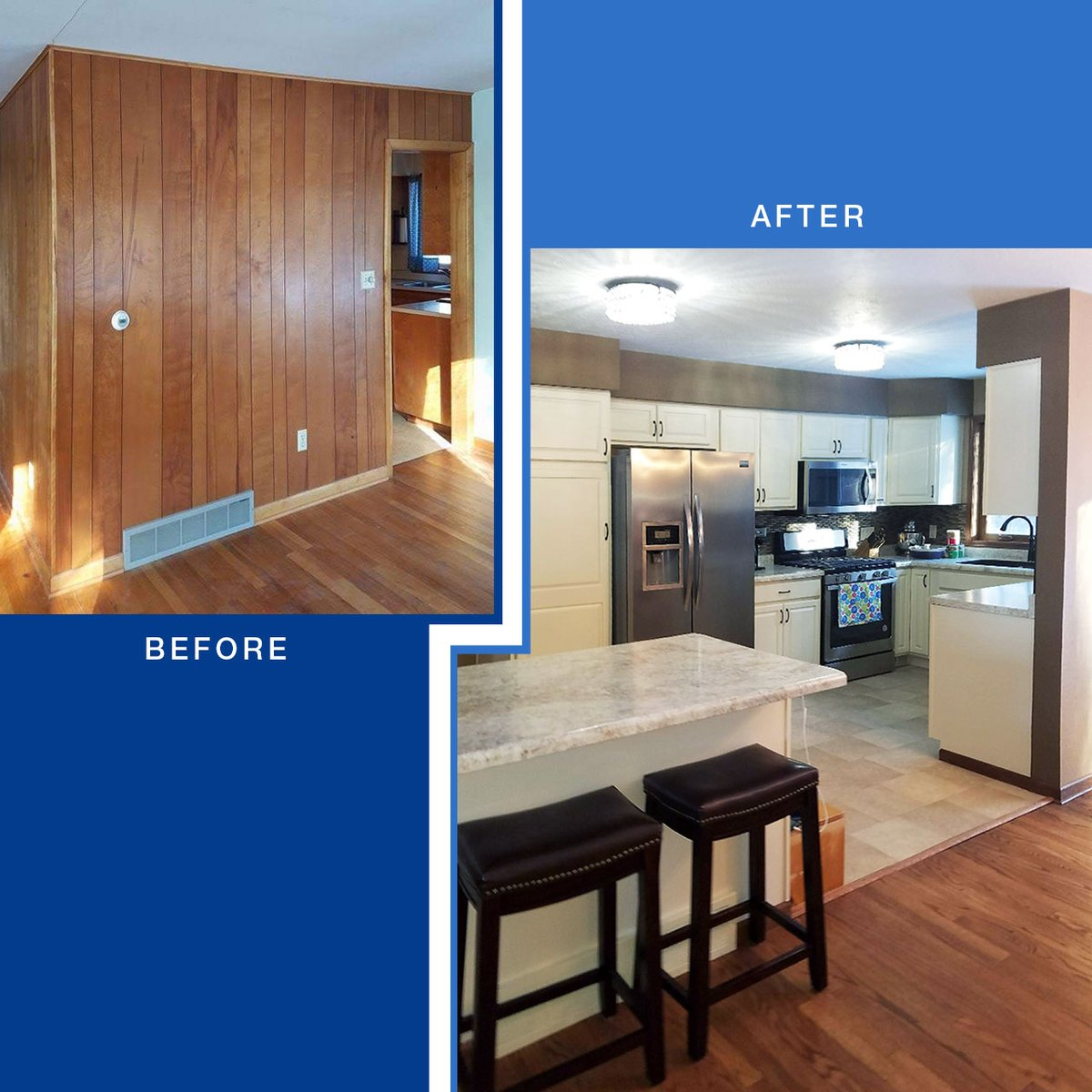 Menards On Twitter With Design Assistance From Her Local Menards Megan Was Able To Transform Her Dated Kitchen To A More Modern Open Layout See The Full Project Here Https T Co Cpz3jdva9e Menards Diy