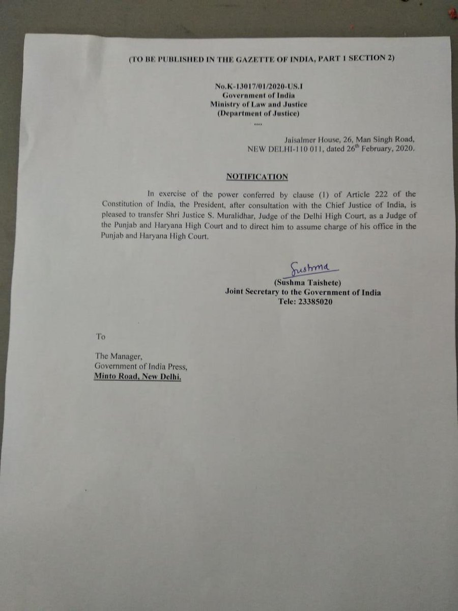 26/2/20: Delhi HC Justice Muralidhar comes down heavily on Centre & Police over violence in the city & directs Police Commissioner to hear hate speeches by @BJP4India leaders for further action  26/2/20: Govt issues notification for his transfer to Punjab & Haryana HC